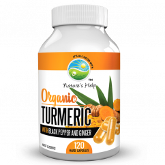 Nature's Help Organic Turmeric Capsules with Black Pepper and Ginger 120 Hard Capsules ***DEAL****