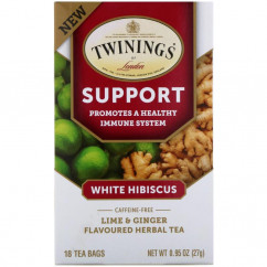 Twinings Support Herbal Tea White Hibiscus Lime & Ginger Caffeine Free 18 Tea Bags 0.95 oz (27 g)