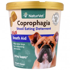 NaturVet, Coprophagia, Stool Eating Deterrent Plus Breath Aid, 70 Soft Chews, 5.4 oz (154 g)