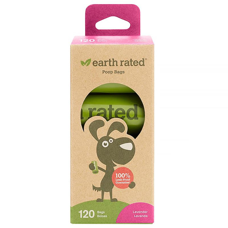Earth Rated Dog Waste Bags Lavender Scented 120 Bags 8 Refill Rolls