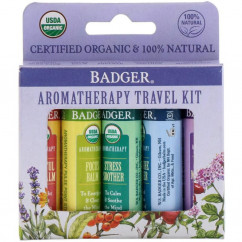 Badger Company Organic Aromatherapy Travel Kit 5 Pack .15 oz (4.3 g) Each