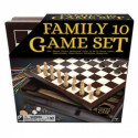 10 in 1 Wooden game set in cabinet