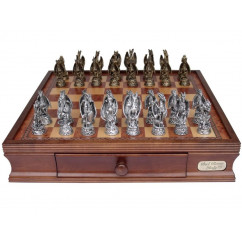 Dal Rossi Chess Box, Mystical Dragon Chess Set, Pewter, 95mm on Dal Rossi 40cm