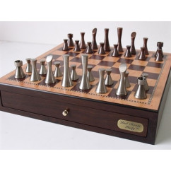 """Dal Rossi Chess, Contemporary Chess with drawers 18"""" (Walnut Finish) with Contemporary Pewter Chess Pieces"""
