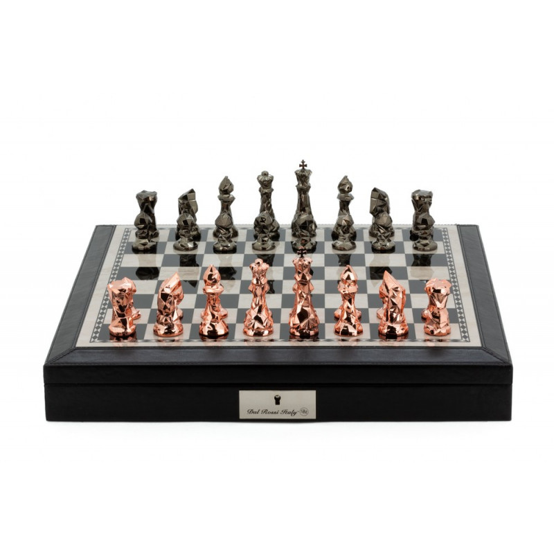 """Dal Rossi Chess Set Black PU Leather Bevelled Edge chess box with compartments 18"""" with Diamond-Cut Copper & Bronze Finish"""