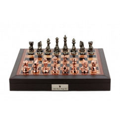 """Dal Rossi Chess set Brown PU Leather Bevelled Edge chess box with compartments 18"""" with Diamond-Cut Copper & Bronze Finish"""