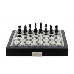 """Dal Rossi Chess set Black PU Leather Bevelled Edge chess box with compartments 18"""" with Diamond-Cut Black & White Finish"""