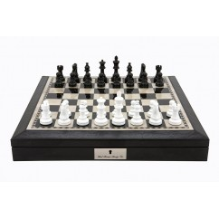 """Dal Rossi 16"""" Chess Set Black and White with PU Leather Edge with compartments and Black and White 85mm Chess Pieces"""