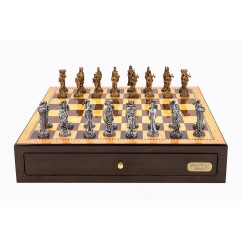 """Dal Rossi Italy Walnut Finish chess box with compartments 18"""" with Medieval Pewter Chessmen"""