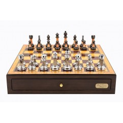 """Dal Rossi Italy Walnut Finish chess box with compartments 18"""" with Staunton Metal/Marble Finish Chessmen"""
