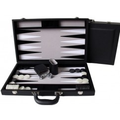 "Dal Rossi Black Backgammon 18"" PU Leather"