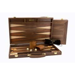 """Dal Rossi Backgammon, walnut With Handle, 15"""" *DEAL*"""
