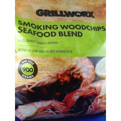 GRILLWORX 900gm SEAFOOD Oak/Alder Blend BBQ Smoking Woodchips Mild Sweet Smokey Flavour