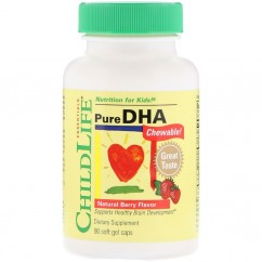 ChildLife, Pure DHA, Natural Berry Flavor, 90 Chewable Soft Gel Caps