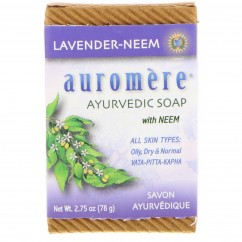 Auromere, Ayurvedic Soap With Neem, Lavender-Neem, 2.75 oz (78 g)