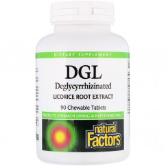 Natural Factors, DGL, Deglycyrrhizinated Licorice Root Extract, 90 Chewable Tablets