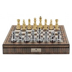 """Dal Rossi Italy Chess Box Mosaic Finish 20"""" with compartments with Gold and Silver Finish 101mm Chess pieces"""